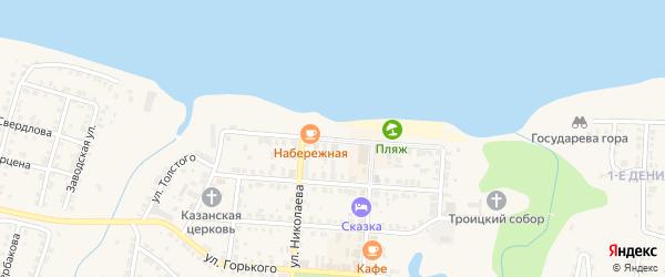 Набережная улица на карте Мариинского Посада с номерами домов