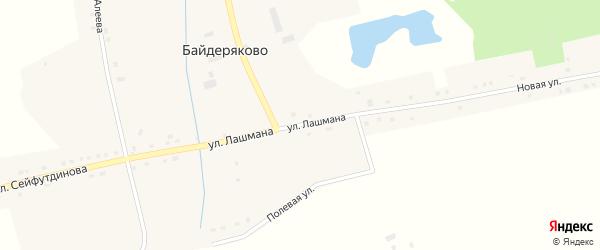 Улица Сейфутдинова на карте деревни Байдеряково с номерами домов