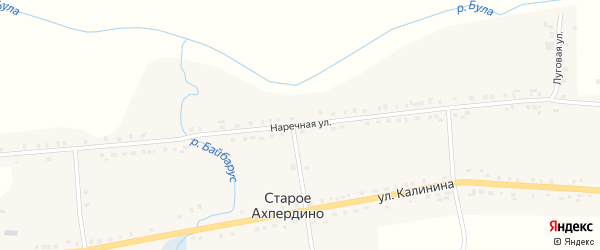 Наречная улица на карте деревни Старое Ахпердино с номерами домов