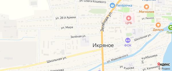 Зеленая улица на карте Икряного села с номерами домов