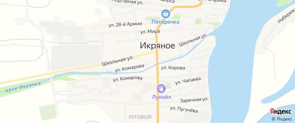 Карта Икряного села в Астраханской области с улицами и номерами домов