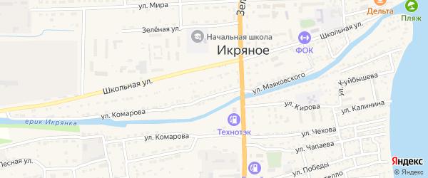 Улица Молодой Гвардии на карте Икряного села с номерами домов
