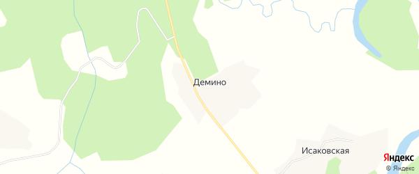 Карта деревни Демино в Архангельской области с улицами и номерами домов