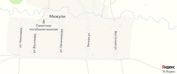 Речная улица на карте деревни Мижули с номерами домов