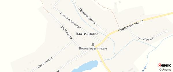 Улица Спутник на карте деревни Бахтиарово с номерами домов