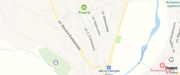 Улица С.Стальского на карте села Ахт с номерами домов