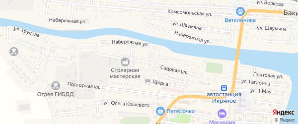 Садовая улица на карте Икряного села с номерами домов