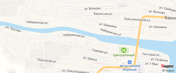 Набережная улица на карте Икряного села с номерами домов