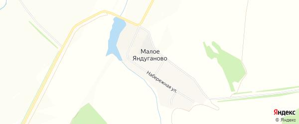 Карта деревни Малое Яндуганово в Чувашии с улицами и номерами домов