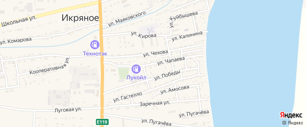 Улица Чапаева на карте Икряного села с номерами домов