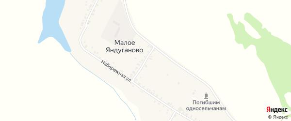 Набережная улица на карте деревни Малое Яндуганово с номерами домов