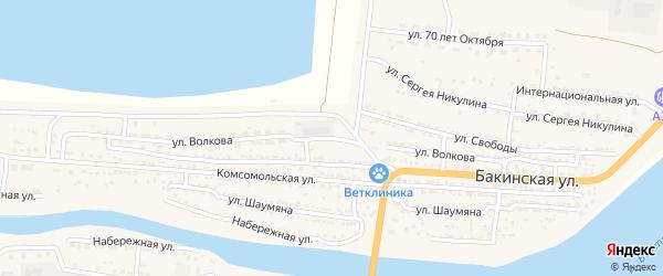 Улица Волкова на карте Икряного села с номерами домов