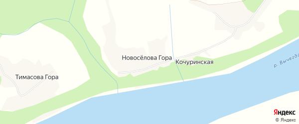 Карта деревни Новоселовой Гора в Архангельской области с улицами и номерами домов