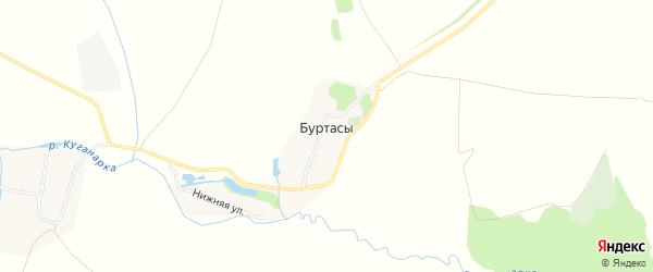 Карта села Буртасов в Чувашии с улицами и номерами домов