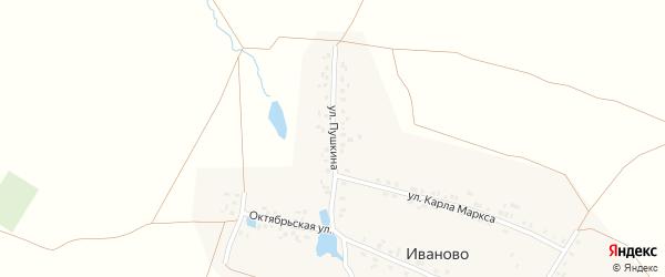 Улица Пушкина на карте деревни Иваново с номерами домов