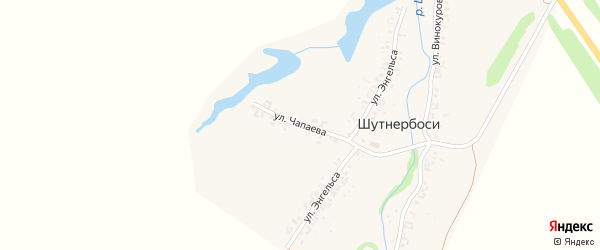 Улица Чапаева на карте деревни Шутнербосей с номерами домов