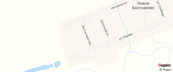 Восточный переулок на карте деревни Новое Бахтиарово с номерами домов