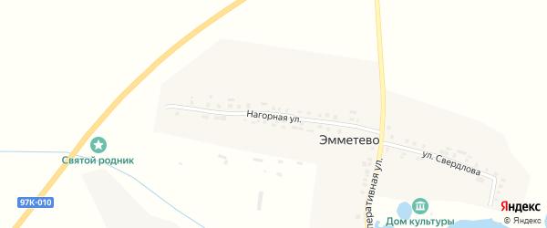 Нагорная улица на карте деревни Эмметево с номерами домов