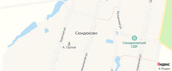 Хомская улица на карте деревни Сюндюково с номерами домов