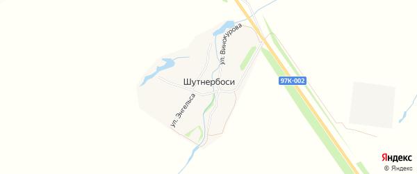 Карта деревни Шутнербосей в Чувашии с улицами и номерами домов