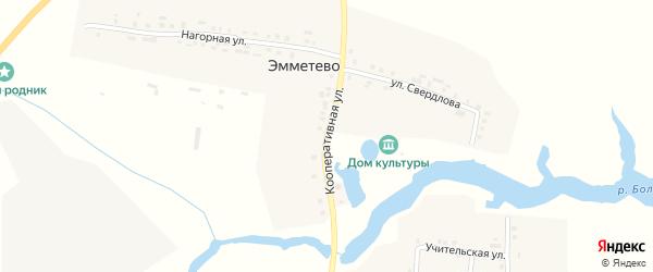 Кооперативная улица на карте деревни Эмметево с номерами домов