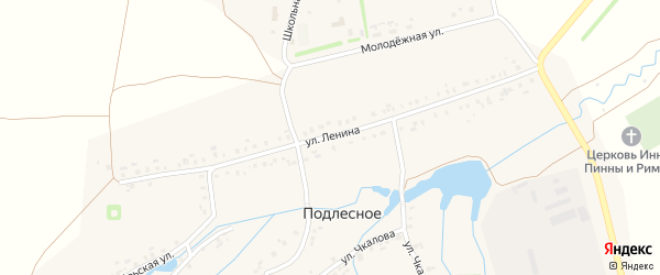 Улица Ленина на карте деревни Подлесного с номерами домов