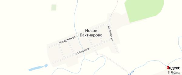 Карта деревни Новое Бахтиарово в Чувашии с улицами и номерами домов