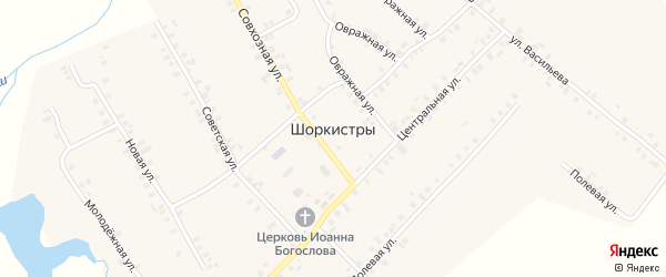 Первомайский 3-й переулок на карте села Шоркистры с номерами домов