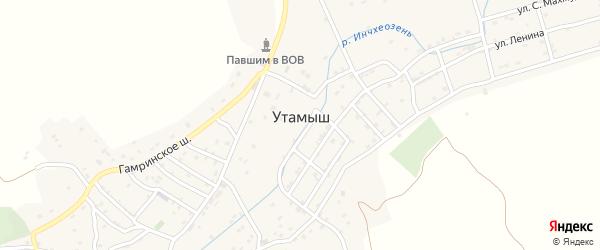 Комсомольская улица на карте села Утамыша с номерами домов