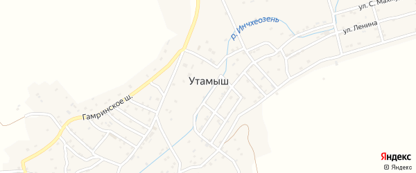 Городское шоссе на карте села Утамыша с номерами домов