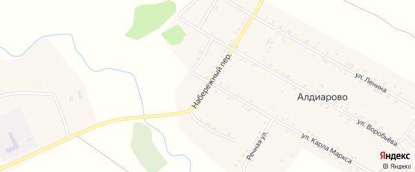Набережный переулок на карте села Алдиарово с номерами домов