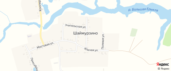 Учительская улица на карте деревни Шаймурзино с номерами домов