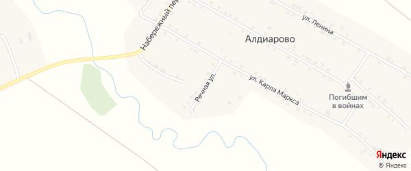 Речная улица на карте села Алдиарово с номерами домов