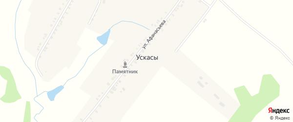 Школьная улица на карте деревни Ускасы с номерами домов