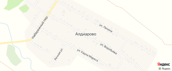 Улица Воробьева на карте села Алдиарово с номерами домов