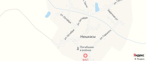 Улица Октября на карте деревни Нюшкас с номерами домов