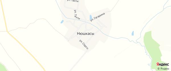 Карта деревни Нюшкас в Чувашии с улицами и номерами домов