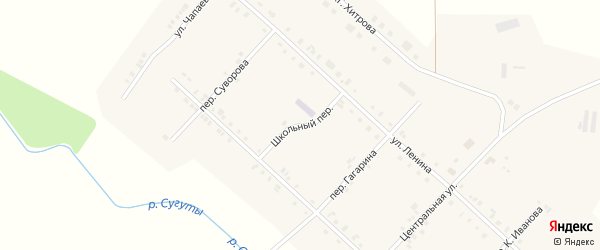 Школьный переулок на карте села Алманчиково с номерами домов