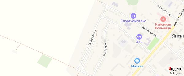 Западная улица на карте села Янтиково с номерами домов