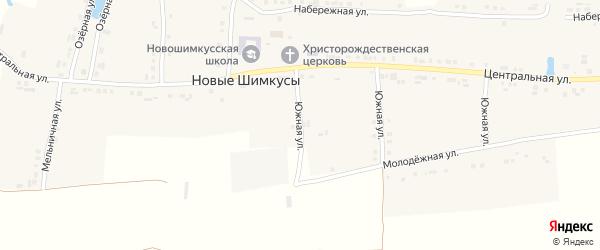 Южная улица на карте села Новые Шимкусы с номерами домов