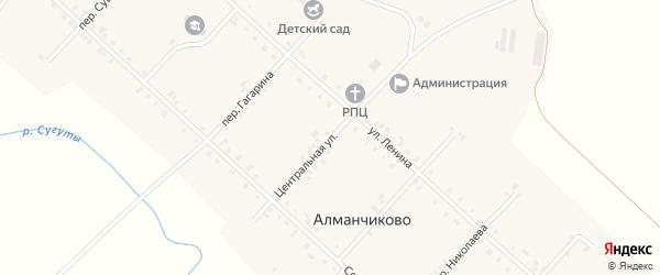 Центральная улица на карте села Алманчиково с номерами домов