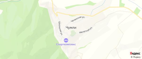 Карта села Чумли в Дагестане с улицами и номерами домов