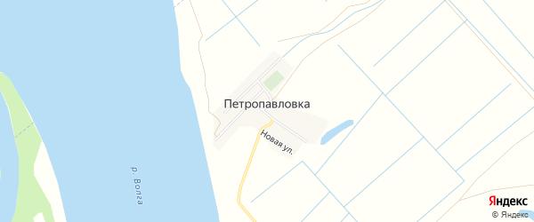 Карта села Петропавловки в Астраханской области с улицами и номерами домов