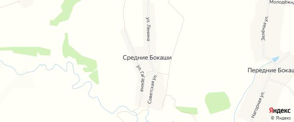 Карта деревни Средние Бокаши в Чувашии с улицами и номерами домов