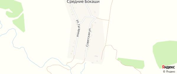 Советская улица на карте деревни Средние Бокаши с номерами домов