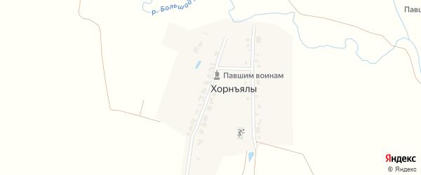 Западная улица на карте деревни Хорнъялы с номерами домов