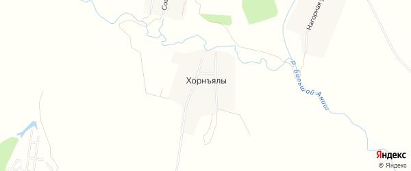 Карта деревни Хорнъялы в Чувашии с улицами и номерами домов