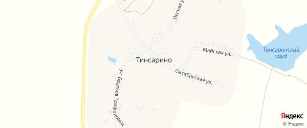 Лесная улица на карте деревни Тинсарино с номерами домов