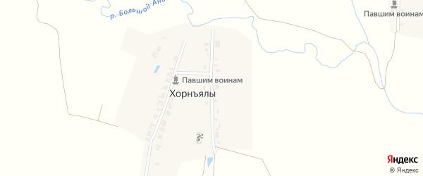 Восточная улица на карте деревни Хорнъялы с номерами домов