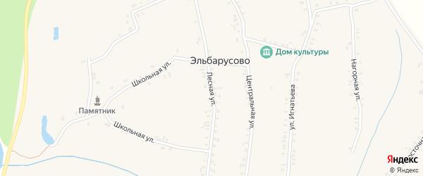 Лесная улица на карте деревни Эльбарусово с номерами домов